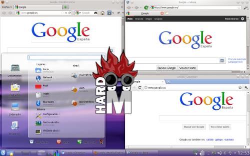 Conjunto de navegadores típicos en Kubuntu