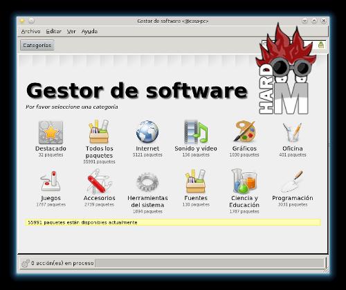 Apliación de gestión de paquetes en Linux Mint, panel inicial