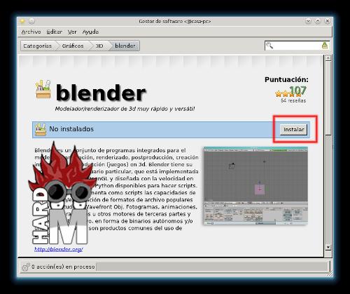 Detalles del paquete Blender en Lnux Mint