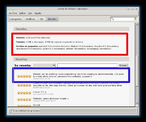 Más detalles de Blender en Linux Mint