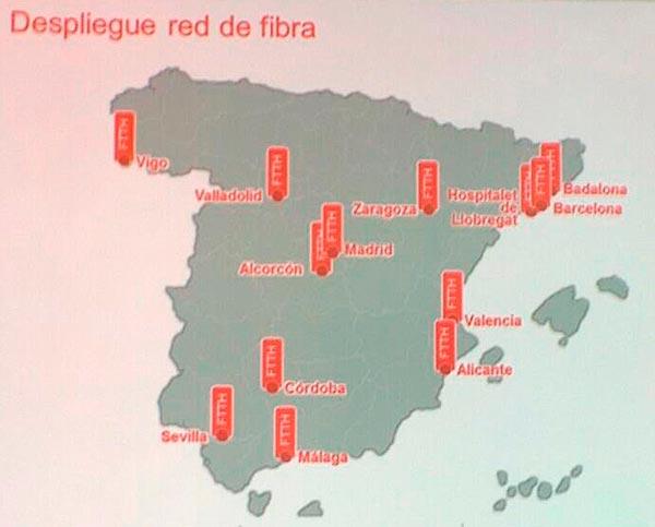 mapa de fibra Despliegue de la fibra óptica y cobertura 4G LTE de Vodafone  mapa de fibra