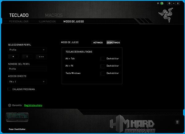Teclado-Razer-DeathStalker-Synapse-Modo-juego