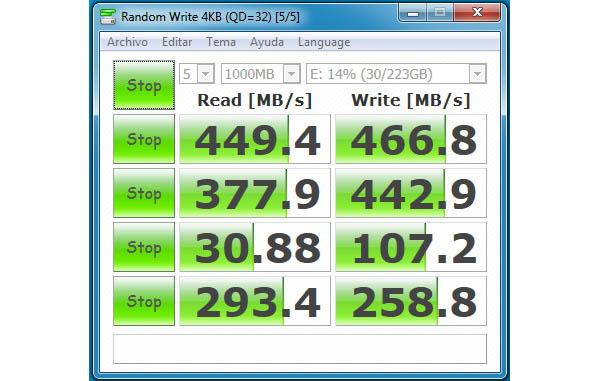 SSD HyperX Savage Test Cristal disck mark en SSD sin uso