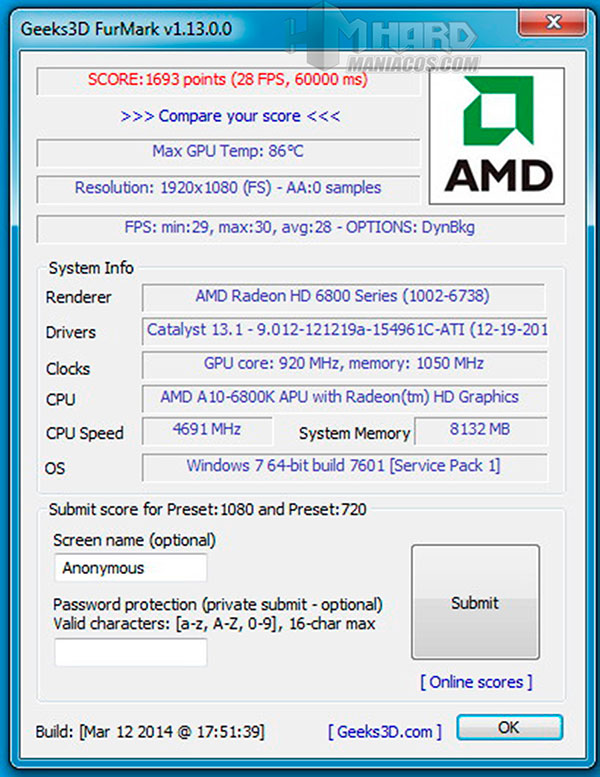 Procesador-AMD-Furmark-Dedicada