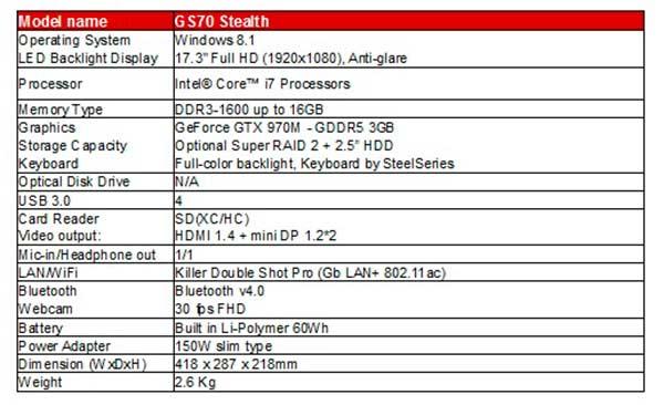 Caracteristicas-Portatil-MSI-GS70-Stealth-Pro