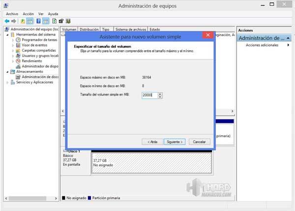 particionar disco duro en windows 7-Seleccionar-la-capacidad