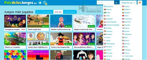 web de juegos