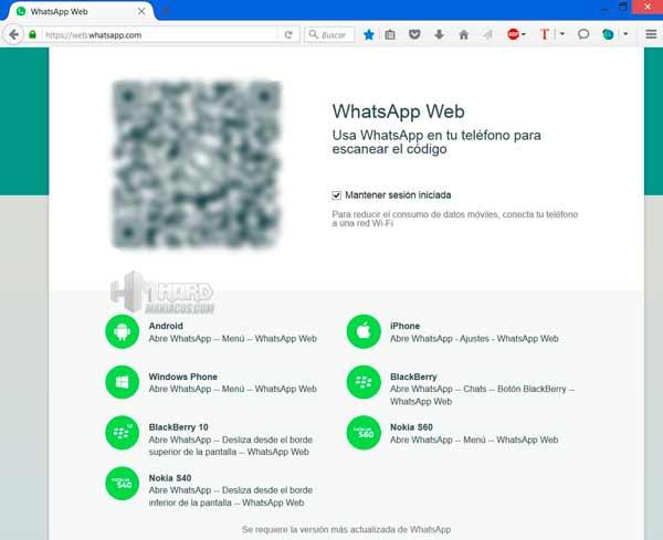 WhatsApp Web 1 QR en Firefox