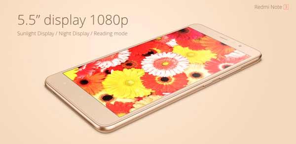 Redmi Note 3 pantalla