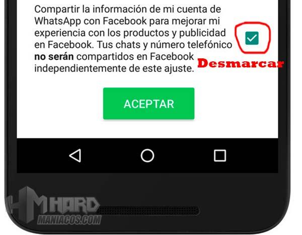 evitar que WhatsApp comparta nuestros datos con Facebook 2