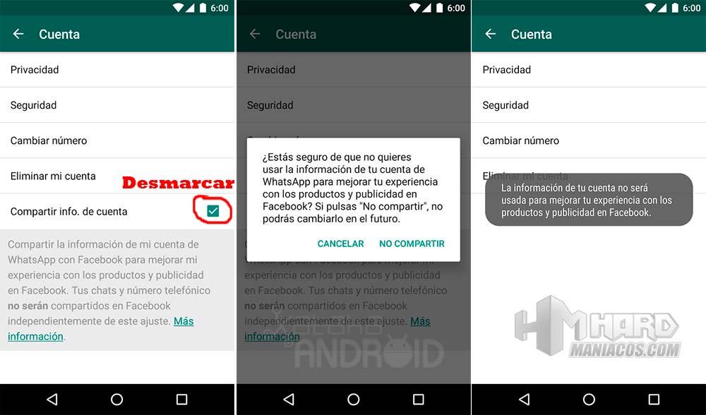evitar que WhatsApp comparta nuestros datos con Facebook 3