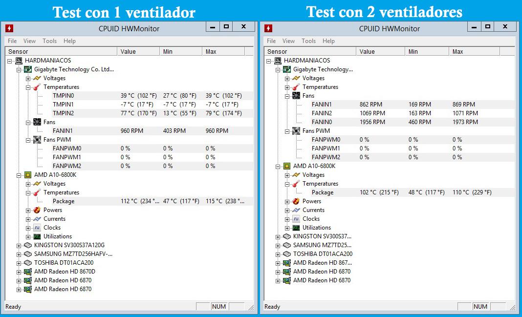 test-1-y-2-ventiladores Noctua NF-A9 nh-u9s