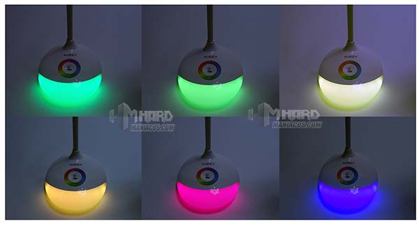 lámpara de escritorio portátil RGB Aukey collage