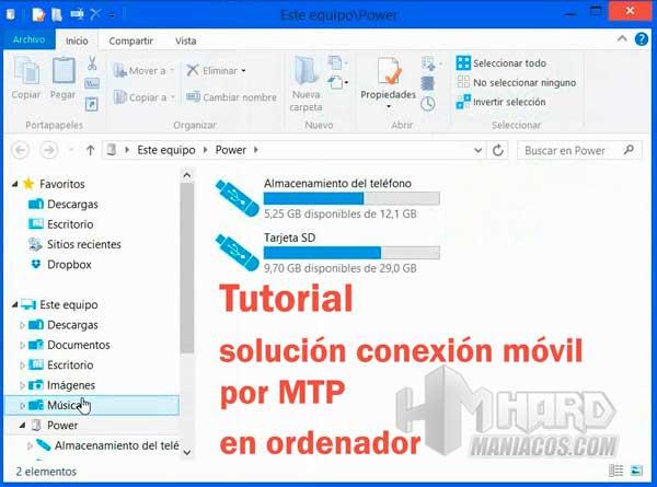 solución conexión móvil por MTP
