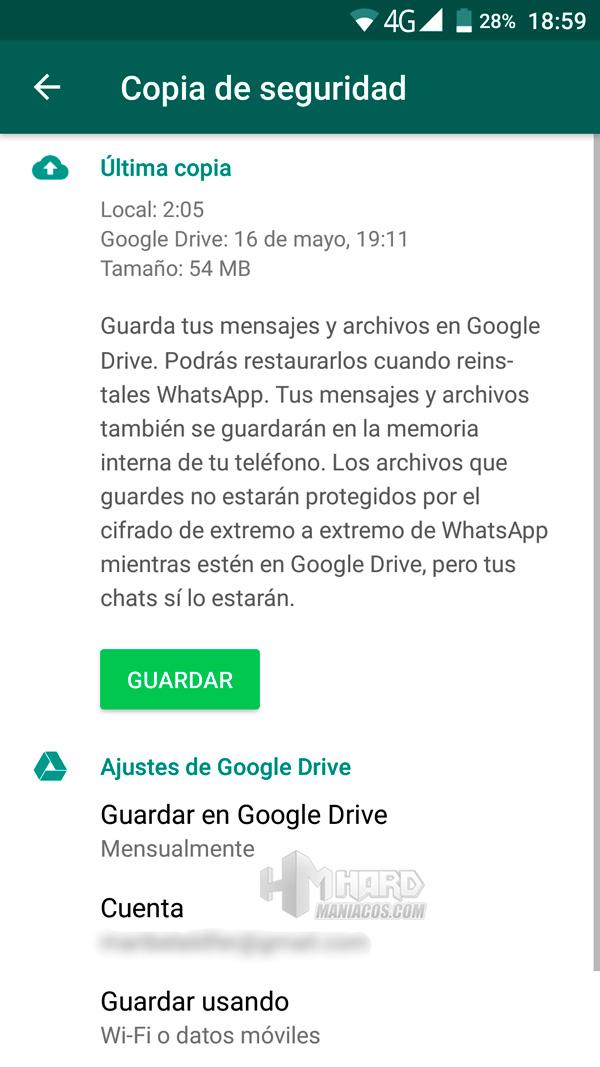 como guardar y copiar nuestros datos WhatsApp 2