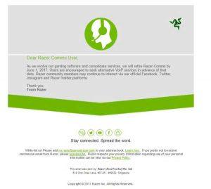 El servicio Razer Comms cerrará en junio