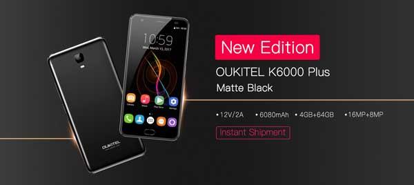 Nueva versión del OUKITEL K6000 Plus en negro mate
