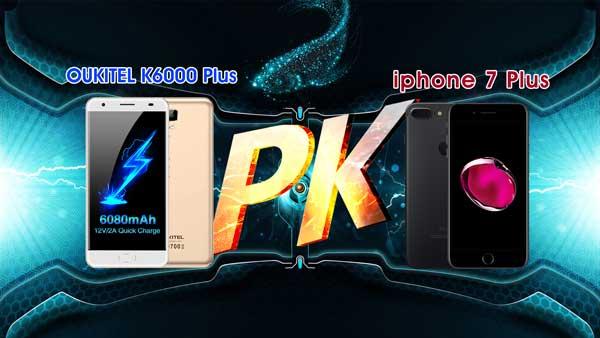 El OUKITEL K6000 Plus se enfrenta al iPhone 7 Plus
