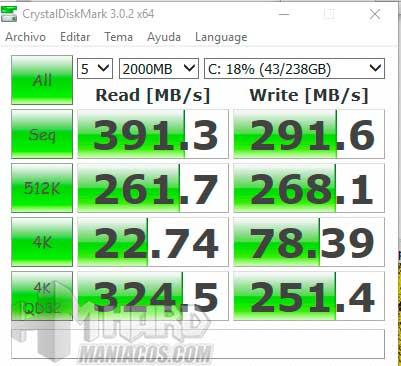 Acer Swift 7 test CrystalDiskMark