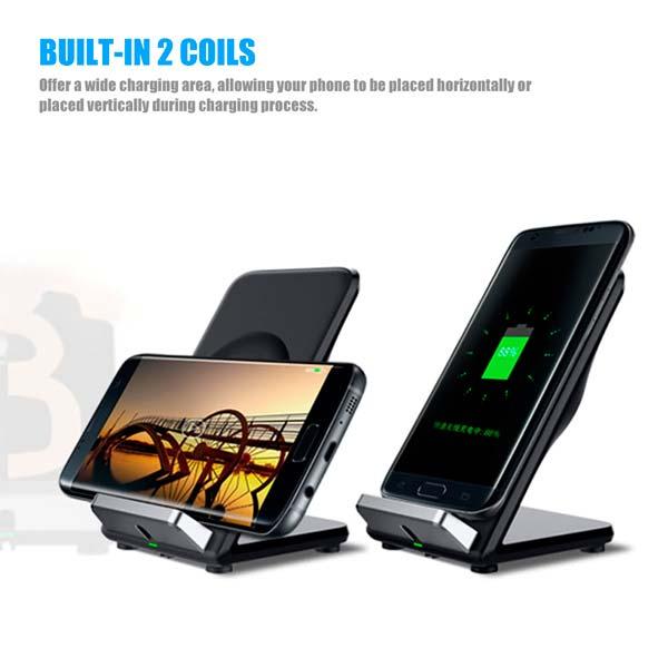 cargador inalámbrico para iPhone y Samsung
