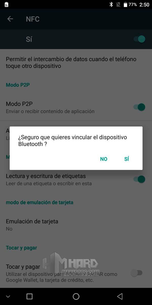mensaje NFC Bluetooth auriculares Hammo Wireless