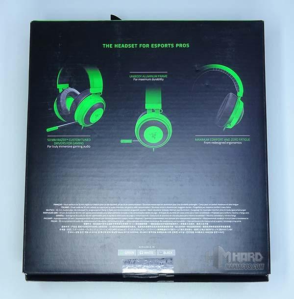caja por detrás auriculares Razer Kraken Pro V2