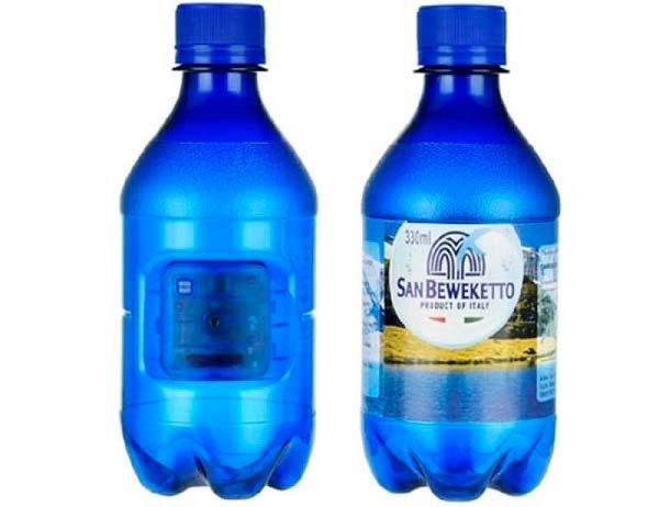 cámaras espía, botella de agua