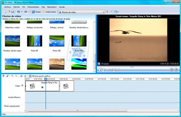 aplicación windows movie maker