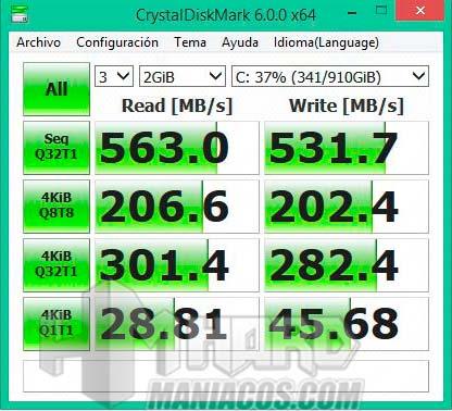 test Crystal Disk Mark SSD en portatil
