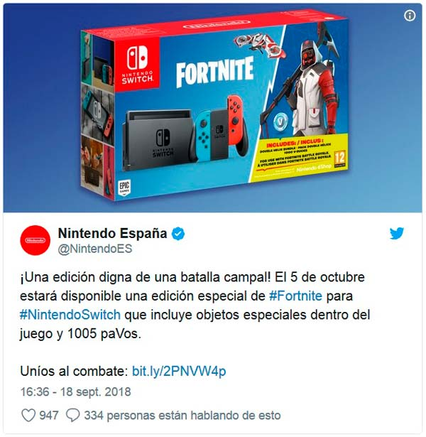 pack de nintendo switch y fortnite