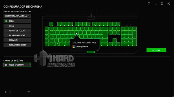 configuración iluminación teclado blackwidow chroma v2