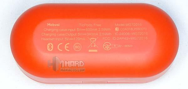 especificaciones caja cargador TicPods Free