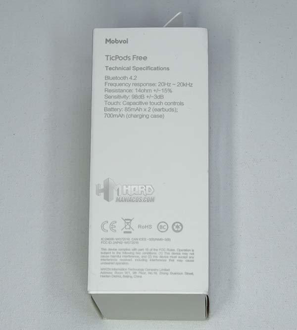 lateral caja Mobvoi TicPods Free
