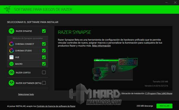 Razer Synapse Huntsman Elite instalacion