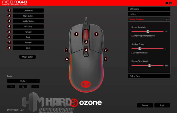 software Ozone Neon X40 Mouse Parameter