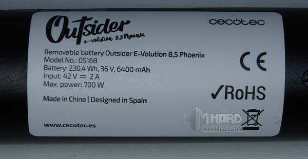 patinete outsider 8,5 phoenix, caracteristicas bateria