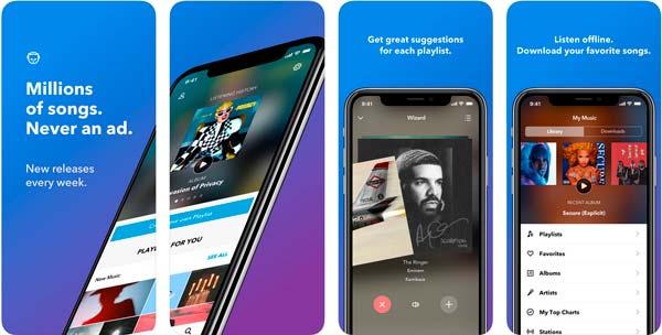 aplicacion napster para descargar música en iPhone