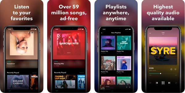 aplicacion tidal para descargar música en iPhone