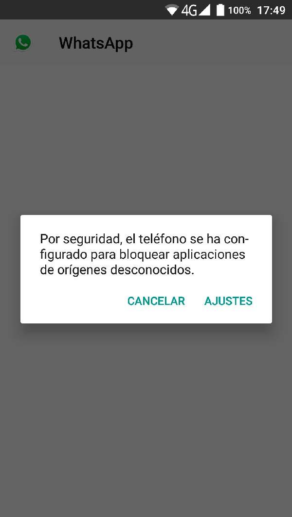 advertencia instalar aplicacion desconocida