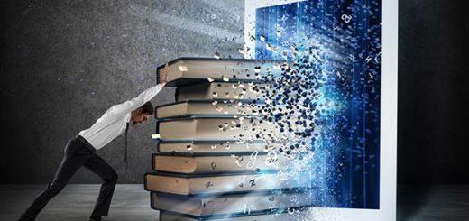 Books enter into the screen of an e-book