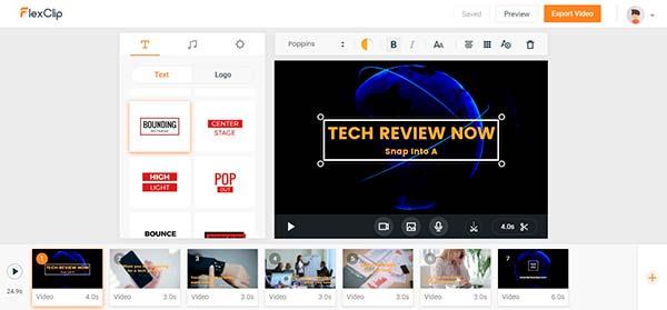 FlexClip editor de vídeos gratuito online