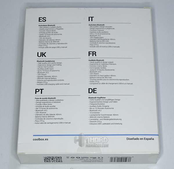 especificaciones caja auriculares CoolBox CoolSkin