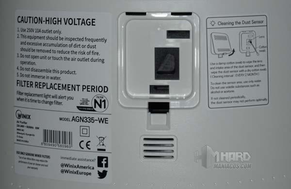 sensor calidad aie purificador WINIX Tower QS