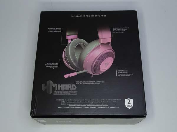 caja or detras cascos Razer Quartz Pink