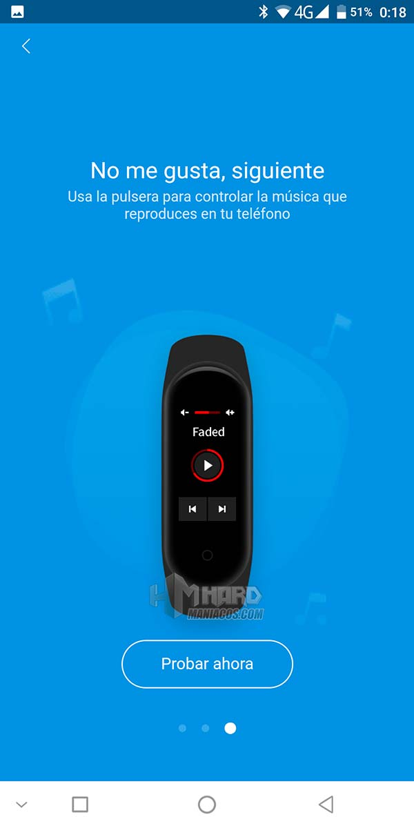 control musica mi smartband 4