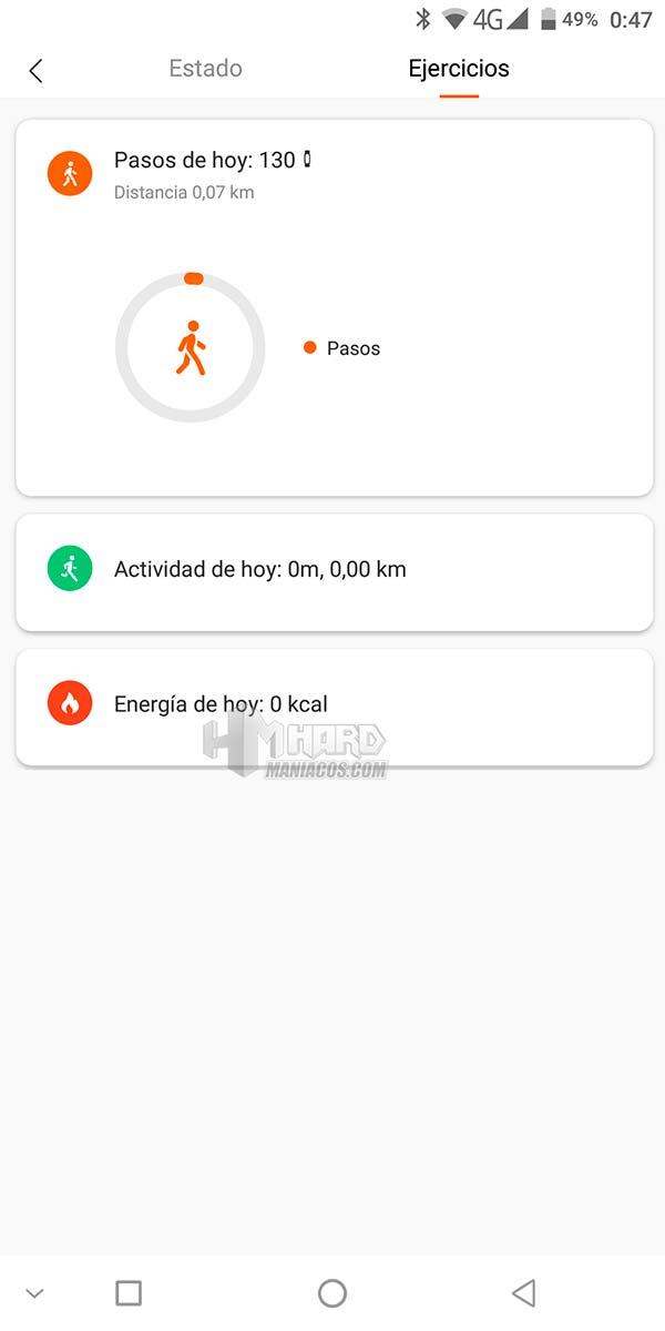 estado ejercicios mi fit xiaomi mi smartband 4