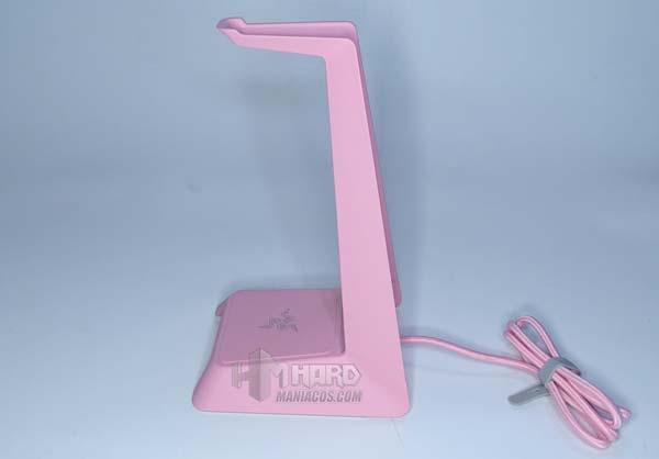 soporte auriculares de lado Razer Base Station Chroma rosa