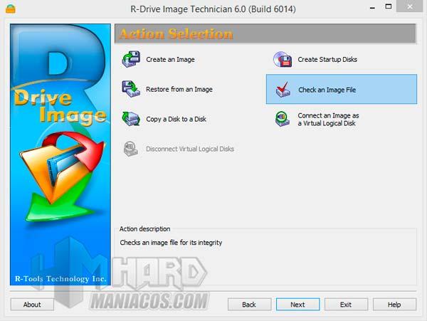 Comprobar una imagen de disco creada con R-Drive Image