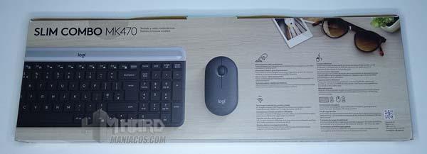 caja por detras de combo teclado y raton logitech slim MK470