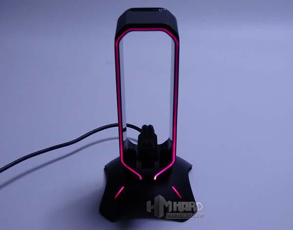 iluminacion en rojo soporte auriculares Mars Gaming MHHPRO